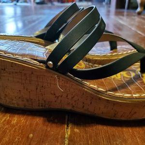 Sam Edelman  black  chunky heel sandals  size 7